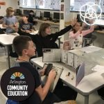 Students celebrating during a Dungeons and Dragons session